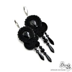 Black Dangle Earrings, Stud, Clip on Earrings, Black Soutache Earrings, Elegant Long Earrings, Orecchini Soutache, Ohrringe soutache by SBjewelrySoutache on Etsy