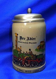 """Vintage German Lidded Beer Stein """"Der Adler"""" first German Train Memorial"""