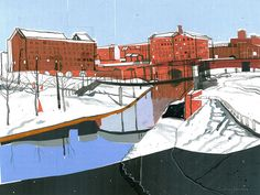 Work of Caroline Johnson. Caroline Johnson, Manchester Art, Rochdale, Salford, Urban Sketchers, East London, Urban Landscape, Gallery Wall, England