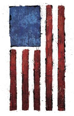"""""""Americana"""" is a digital print reproduced from original mixed media artwork by Jeff Mitchell on heavyweight satin coated paper. Signed and dated by the artist."""