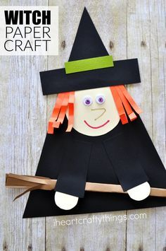 Use shapes to create this cute witch paper craft for Halloween. Fun preschool Halloween craft, Halloween witch craft and paper crafts for kids.
