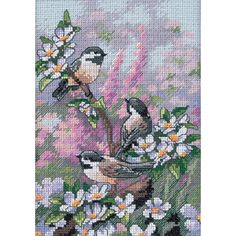 "Dimensions Gold Collection Petite Chickadees In Spring Counted Cross St-5""X7"" (5""X7"")"