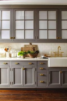 Uplifting Kitchen Remodeling Choosing Your New Kitchen Cabinets Ideas. Delightful Kitchen Remodeling Choosing Your New Kitchen Cabinets Ideas. Grey Kitchen Cabinets, Kitchen Cabinet Design, Kitchen Redo, Kitchen And Bath, New Kitchen, Kitchen Remodel, Kitchen Dining, Upper Cabinets, Brass Kitchen