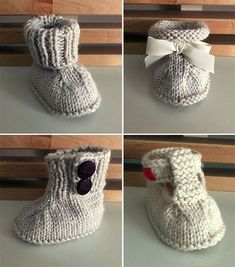 Free Knitting Pattern for 4 Seamless Baby Booties - Instructions for 4 styles of baby booties from the same basic design - plain ribbing cuff, tie ribbon and rolled cuff, cuff with side buttons, and b. - Crochet and Knit Knitted Baby Boots, Baby Booties Knitting Pattern, Crochet Baby Booties, Knitting Socks, Knitting Patterns Free, Knit Patterns, Free Knitting, Knit Baby Shoes, Baby Bootie Pattern