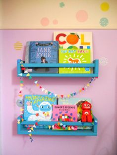 Five ways to add colour to your family home - painted IKEA spice rack bookshelves - a great IKEA hack for children's interior style Spice Rack Bookshelves, Ikea Spice Racks As Book Shelves, Spice Rack Paint, Spice Rack Design, Paint Meaning, Kids Storage, Storage Ideas, Colorful Bedding, Diy Wall Stickers