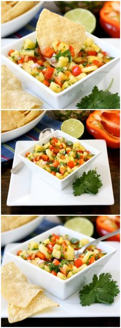 Pineapple Salsa Recipe on twopeasandtheirpo. This salsa is so easy to make! Great with chips, fish, pork, or chicken! Mexican Food Recipes, Vegan Recipes, Cooking Recipes, Ethnic Recipes, Salsa Guacamole, Fruit Salsa, Hummus, Salsa Picante, Pineapple Salsa