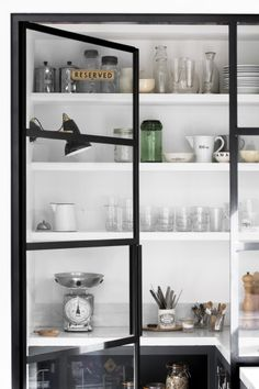 Kitchen pantry with black metal frame doors and open shelving Ali Ross Design Steel Frame Doors, Kitchen Storage, Kitchen Pantry, Kitchen Ideas, Eclectic Modern, Kitchen Doors, Laundry In Bathroom, Walk In Pantry, Modern Country