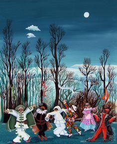 Sera di carnevale (ricordando Rousseau), olio su tela
