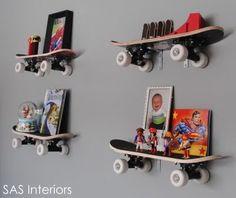 unique skateboard shelving option for boys room