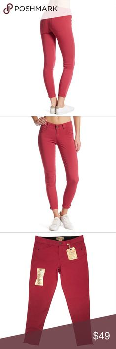 """Democracy Booty Lift Ankle Jeans Tummy Control Democracy """"Ab""""solution Ankle Skimmer Jeans Booty lift and booty enhancing design Tummy control mesh panels """"no gap"""" waist  super stretch color is mulberry (a pink-berry color) size 12 waist: 34 inches hips: 39 inches rise: 10 inches inseam: 28 inches leg opening: 10 inches NWT democracy Pants Ankle & Cropped"""