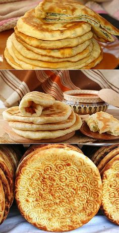Incredibly tasty, fragrant and madly easy flat cakes in preparation - recipes of preparation. Russian Recipes, Turkish Recipes, I Love Food, Good Food, Yummy Food, Festive Bread, Georgian Food, Tortilla, Naan