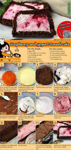 Gefüllter Himbeer-Jogurt-Kuchen A filled raspberry yogurt cake fulfills every wish. The Filled Raspberry Yogurt Cake Recipe video is easy to find using the QR code :] # GefüllterHimbeerJogurtKuchen Donut Recipes, Baking Recipes, Cake Recipes, Dessert Recipes, Raspberry Yoghurt Cake, Yogurt Cake, Dessert Simple, Coconut Roll Recipe, Sour Cream Cake