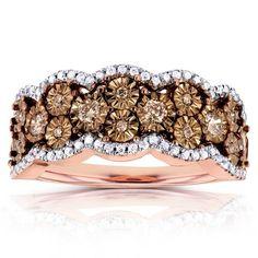 Annello by Kobelli 10k Gold 1/2ct TDW Brown and White Diamond Illusion Ring (H-I, I1-I2)