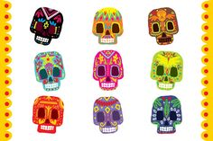 Mexico flowers, skull element by TopVectors on @creativemarket