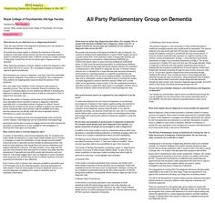 """2012 All-Party Parliamentary Enquiry: """"Improving Dementia diagnosis rates in the UK"""" Evidence presented by Dr Peter Connelly Respondent Dementia Diagnosis, About Uk, Party, Parties"""