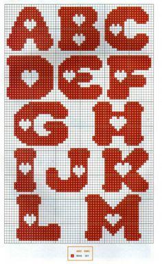 Sticken Kreuzstich - cross stitch - free pattern Alphabet with heart pattern ♥ Korsstygns-Arkivet ♥ Crochet Alphabet, Crochet Letters, Cross Stitch Letters, Cross Stitch Heart, Heart Patterns, Canvas Patterns, Cross Stitching, Cross Stitch Embroidery, Cross Stitch Designs