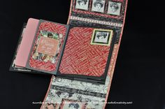 Accordion Style Plus Mini Album.  Graphic 45 Mon Amour. Pictures and Tutorial available on www.webofcreativity.net. Made by Melissa Merritt 2016.