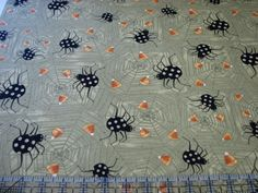 3 Yards Quilt Cotton Fabric - Clothworks Witchful Thinking Spiders on Webs Olive…