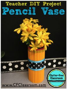 Clutter-Free Classroom: Easy Back to School Project for the Classroom Writing Workshop, Writing Centers, Writing Prompts, First Grade Classroom, Future Classroom, Classroom Crafts, Classroom Themes, Pencil Vase, Powerpoint Lesson