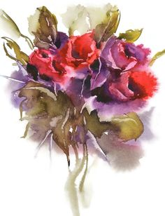 Bouquet Painting Print Flower Vase Watercolor PaintingRed