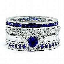 Sterling Silver Created Sapphire Diamond Four Stackable Rings :: Stackable Ring Set :: Stackable Expressions Rings :: Stackable Rings :: Generous Gems
