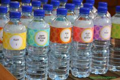 How to make your own Water Bottle Labels with link to LOTS of free printables (not just the labels)