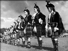 Contestants for Title of Best Dressed Highland Dancer Lining Up for the Judges 1946.