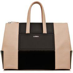 La Perla Bags Calfskin Leather Daily Bag ($1,890) ❤ liked on Polyvore featuring bags, handbags, purses, beige, calfskin handbag, foldover purse, calfskin bag, two tone bag and geometric bag
