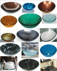 All the sinks! Even a bright red one. BATHROOM CLOAKROOM COUNTERTOP GLASS BASIN SINK. Very reasonable prices, too.
