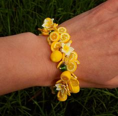 Yellow lemon charm bracelet  citrus jewelry  Handmade