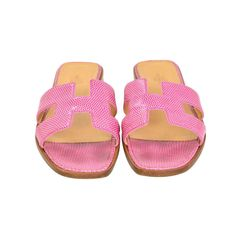 13199f8334b0b HERMES Pink Lizard Leather Oran H Sandals Shoes Sz 39