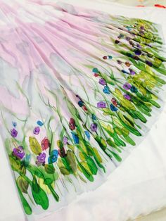 Hand Painted Silk Skirt by Artist Amna. visit my Face Book page Amna Silk Studio for more n Beautiful Scarves. Hand Painted Dress, Hand Painted Fabric, Painted Silk, Floral Fabric, Fabric Flowers, Beautiful Scarves, Headband Wrap, Silk Art, Face Book