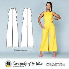 Palazzo Jumpsuit for Beginner Sewing Paloma // Wide Leg Jumpsuit Pattern. Palazzo Jumpsuit for Dress Sewing Patterns, Sewing Patterns Free, Clothing Patterns, Paper Patterns, Pattern Sewing, Plus Size Patterns, Fabric Sewing, Skirt Patterns, Sewing Box