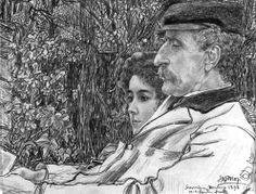 Johan en Mies Drabbe in de tuin te Domburg, door Jan Toorop, 1898. Zwart krijt met potlood en pastel op papier (collectie H.F. Elout).