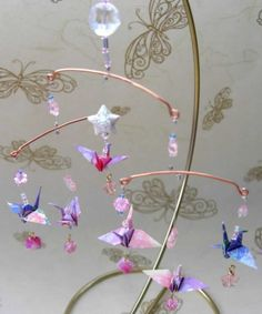 Mini Origami Crane Mobile with Brass Ornament by TheLittleMoniShop