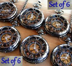 Set of 6 Personalized Engravable Black by PocketwatchPurveyor, $300.00