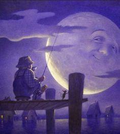 'Catch the Moon' - by Chris Sheban <> (sun, moon, stars state of mind) Sun Moon Stars, Sun And Stars, Nocturne, Luna Moon, Vintage Moon, Moon Shadow, Moon Illustration, Under The Moon, Moon Pictures