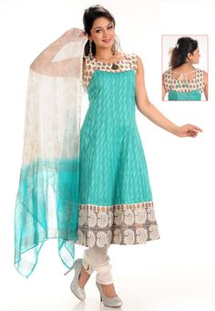 Sky Blue Cotton Readymade Anarkali Churidar Kameez