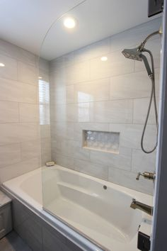 Grey Tiled Bathroom and Shower ~ Streetsboro, OH - Transitional - Bathroom - Cleveland - by Cabinet-S-Top - Bathroom Ideas Bathroom Remodel Shower, Bathroom Renos, Bathroom Tub, Bathroom Shower Tile, Bathroom Makeover, Bathroom Red, Bathroom Shower, Bathroom Design, Small Bathroom Remodel