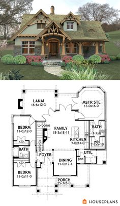Mountain House Plan and Height House Plans - . I love the look and floor plans of this beautiful little cottage. Near perfect floor plan House Plan 65094 Tranquility House Plan Layouts Casa, House Layouts, Basement House Plans, Craftsman House Plans, Walkout Basement, Basement Layout, 3 Bedroom Home Floor Plans, Craftsman Cottage, Craftsman Interior