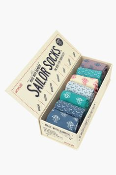 Our famous sailor socks! Soft, breathable bamboo socks, warm in winter, cool in the summer. Seven pairs in classic nautical patterns in a fun gift box.