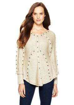 YA LOS ANGELES Long Sleeve Sweater Top with Stud Detail