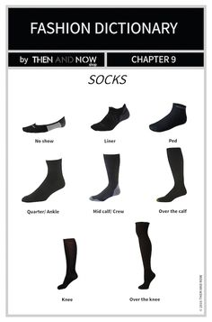 If you ever need to buy socks and are not sure of the Types of Socks to match your shoes and outfit, this Infographic is perfect to give you a helping hand. Fashion Terminology, Fashion Terms, Fashion 101, Fashion History, Fashion Outfits, Womens Fashion, Fashion Basics, Looks Style, My Style