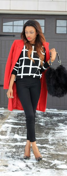 The Red Coat  with black and white street style / La Vivientann - she looks great in the snow!