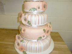 Peach and white wedding cake i made