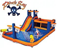 Blast Zone Pirate Bay Inflatable Combo Water Park and Bounce by Blast Zone Inflatable Water Park, Inflatable Bounce House, Inflatable Bouncers, Water Slides, Pool Slides, Park Playground, Kiddie Pool, Pool Supplies, Things That Bounce