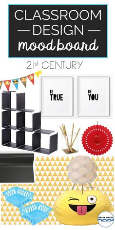 Make your classroom all about the century with this fun classroom design mood board. From emoji bean bags to inspirational quote posters, this mood board is sure to inspire! Classroom Design, Classroom Decor, Emoji Bean Bag, Bean Bags, Quote Posters, 21st Century, Mood Boards, Things To Think About, Whimsical