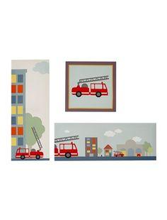 """Was will ich mal werden? Das fragen Mädchen und Jungs gerne! Dekorative Anregungen setzen hier Kinderfantasien in Gang. Das farbige 3er-Set Bilder """"Feuerwehr"""" ist hübsch in 3 Formen aufgemacht: quadratisch, im Querformat und hochgestellt. Die bunten Kinderzimmerbilder machen sich nicht nur im Feuerwehr-Zimmer gut. Produktdetails: 3er-Set Bilder """"Feuerwehr"""": Holzrahmen. 15 x 40 cm + 20 x 20 cm.;"""