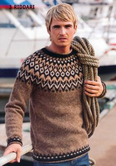 - Icelandic Riddari (Knight) Mens Wool Sweater Brown - Tailor Made - Nordic Store Icelandic Wool Sweaters - 1 pullover herren Riddari (Knight) Mens Wool Sweater Brown Knitting Kits, Fair Isle Knitting, Knitting Designs, Hand Knitting, Sweater Knitting Patterns, Icelandic Sweaters, Wool Sweaters, Brown Sweater, Men Sweater