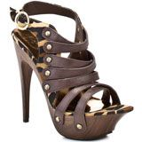 Get an earthy but sexy look in these strappy wooden heels from Baby Phat.